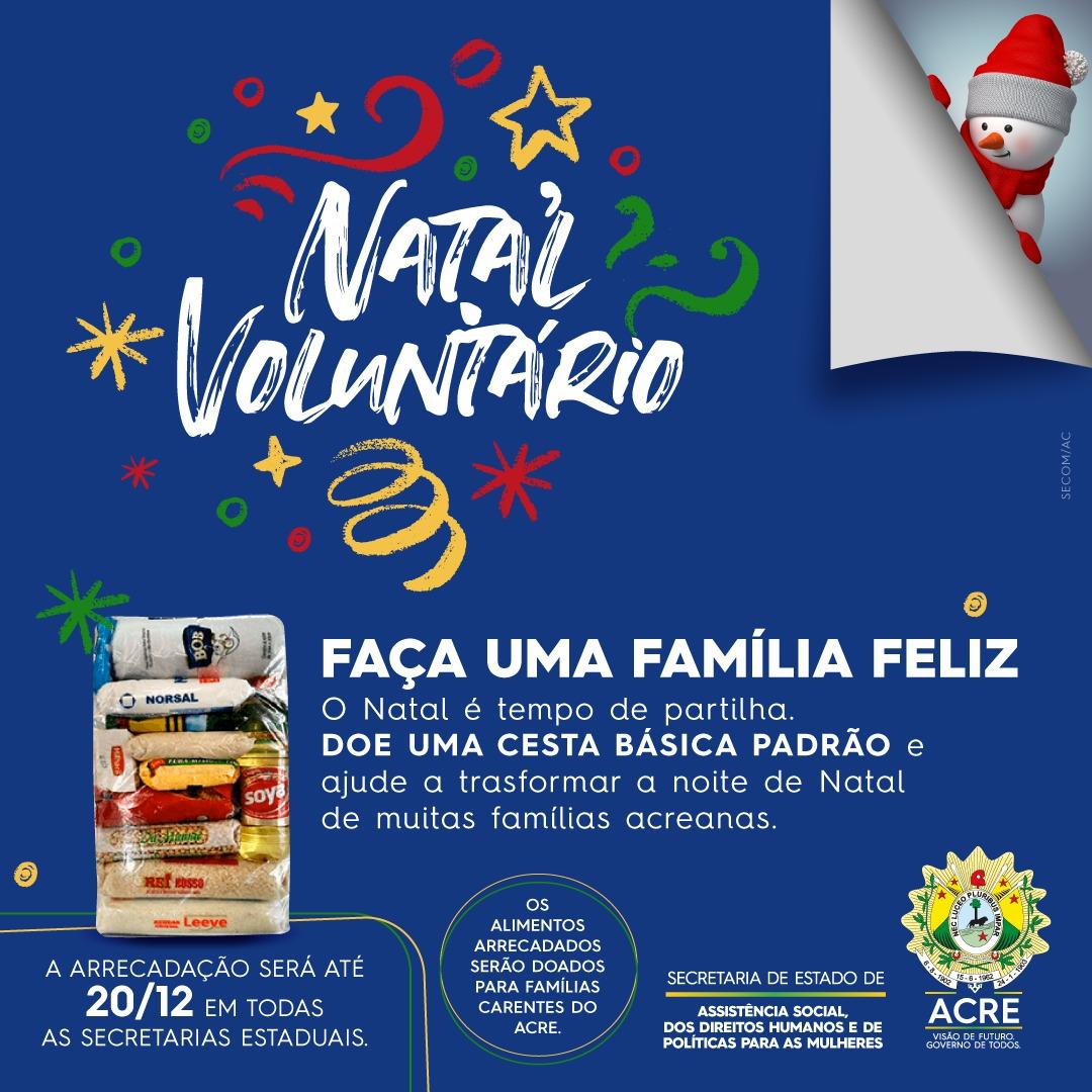 Governo lança campanha Natal Voluntário para arrecadar alimentos